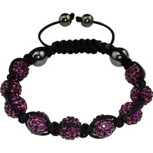 "Magnetic bracelet ""Shamballa"" Black / Purple"